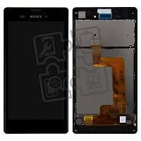 Дисплей для Sony Xperia T3 D5102, D5103, D5106, модуль в сборе (экран и сенсор), с рамкой, черный, оригинал