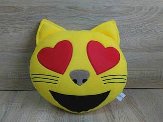 Подушка - игрушка Эмодзи Emoji Смайл кот с сердцем, ручная работа