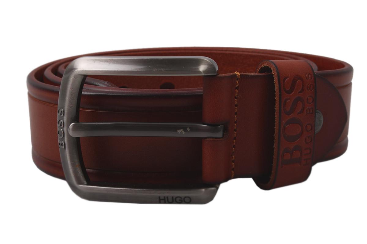 Ремень мужской Boss джинсовый, цвет рыжий, натуральная кожа (длина 110 см, ширина 3,5 см)