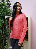ca00b84655c Красивый женский вязаный свитер с рельефным узором