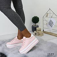 Стильные розовые слипоны женкские на шнуровке р. 38, фото 1