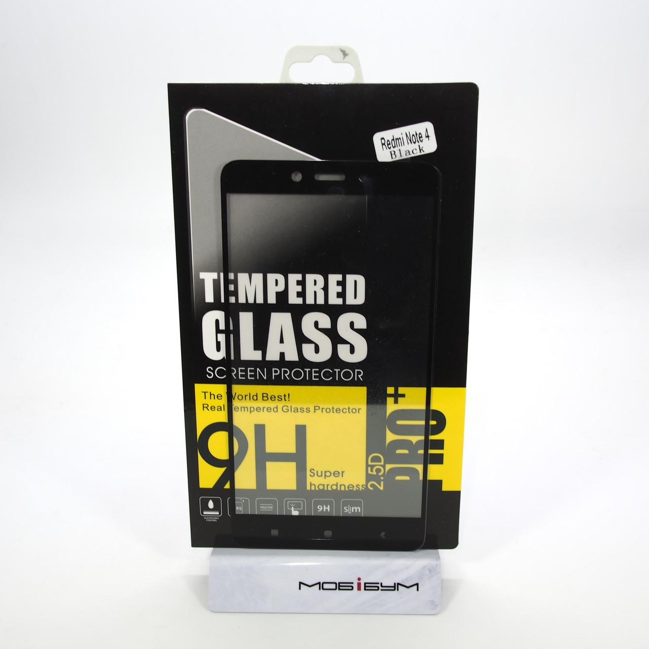 Защитное стекло Xiaomi Redmi Note 4 black 4X