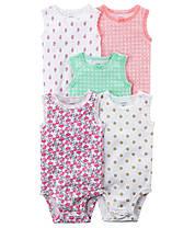 Боди-майки для девочек 12 мес. Набором и поштучно. Разноцветный принт. Carter's (США)