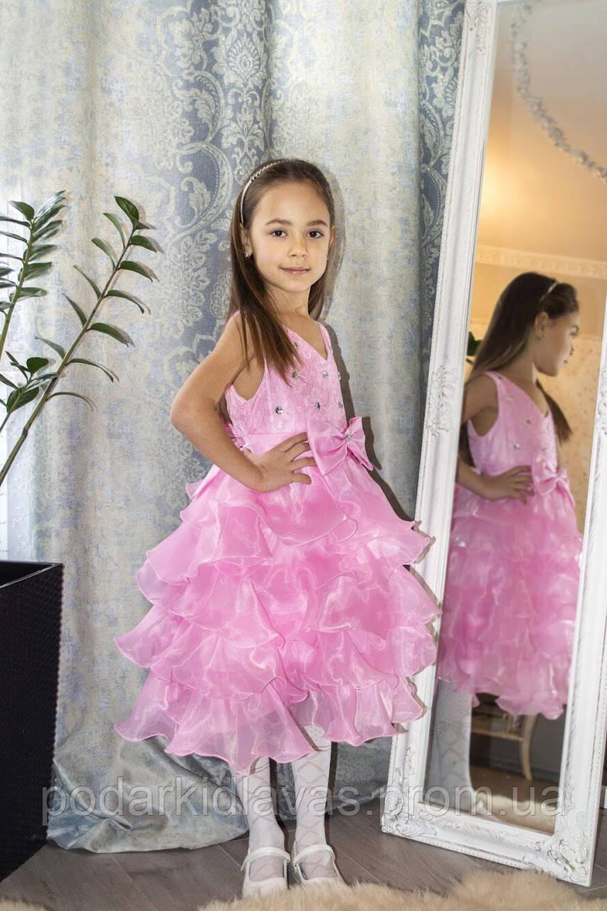 Платье  Розовое  для девочки с оборками и стразами