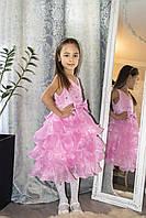 Платье  Розовое  для девочки с оборками и стразами, фото 1