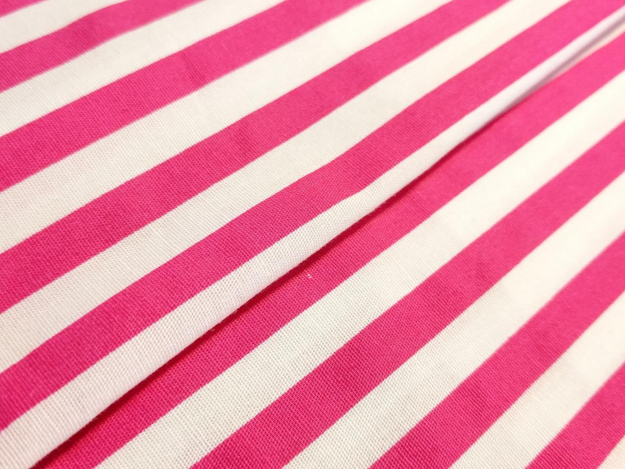 Коттон стрейчевый рубашечный полоска 6 мм, малиновый