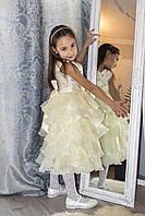 Платье с бантом и стразами пышное  цвет Айвори