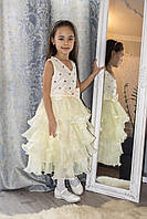 Нарядное платье для девочки с оборками цвет Айвори рост 140, фото 1