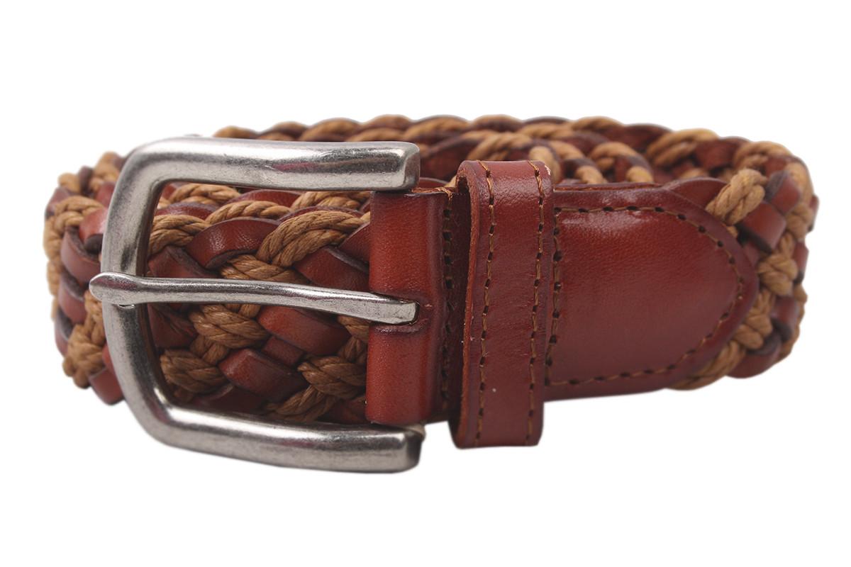 Кожаный ремень цвет рыжий, натуральная кожа (длина 110 см, ширина 3 см)