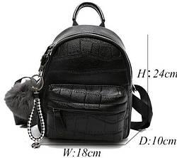 Мини рюкзак с меховым брелком Luxy Moon черный(AV003)