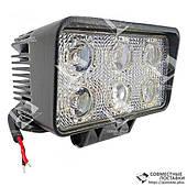18W / 60 (6 x 3W / широкий луч, прямоугольный корпус) 1350 LM LED Фара рабочая L0099F (Польша) 18 Ватт