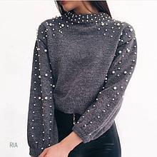 Укороченный свитер с бусинками