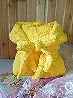 "Халат махровый женский ""Желтый"" длинный , фото 1"