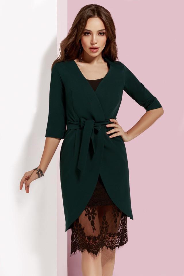 Темно-зелёное платье-двойка с кружевом