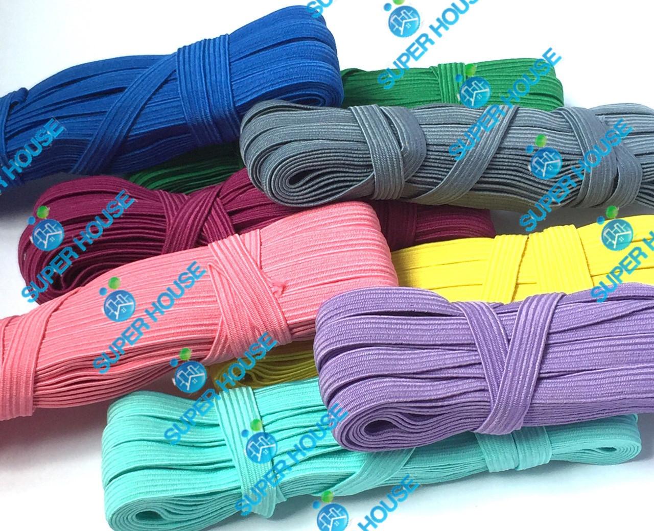 Резинка плетёная, ширина 10мм, длина 10м, 100% полиэстер. Цветная