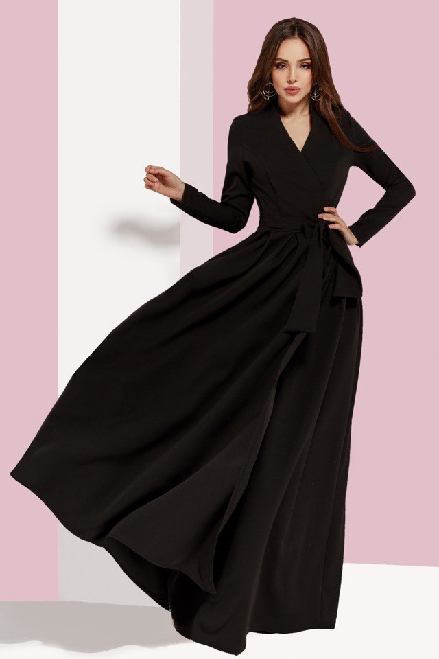 1ab55987a104 Черное платье в пол с длинным рукавом