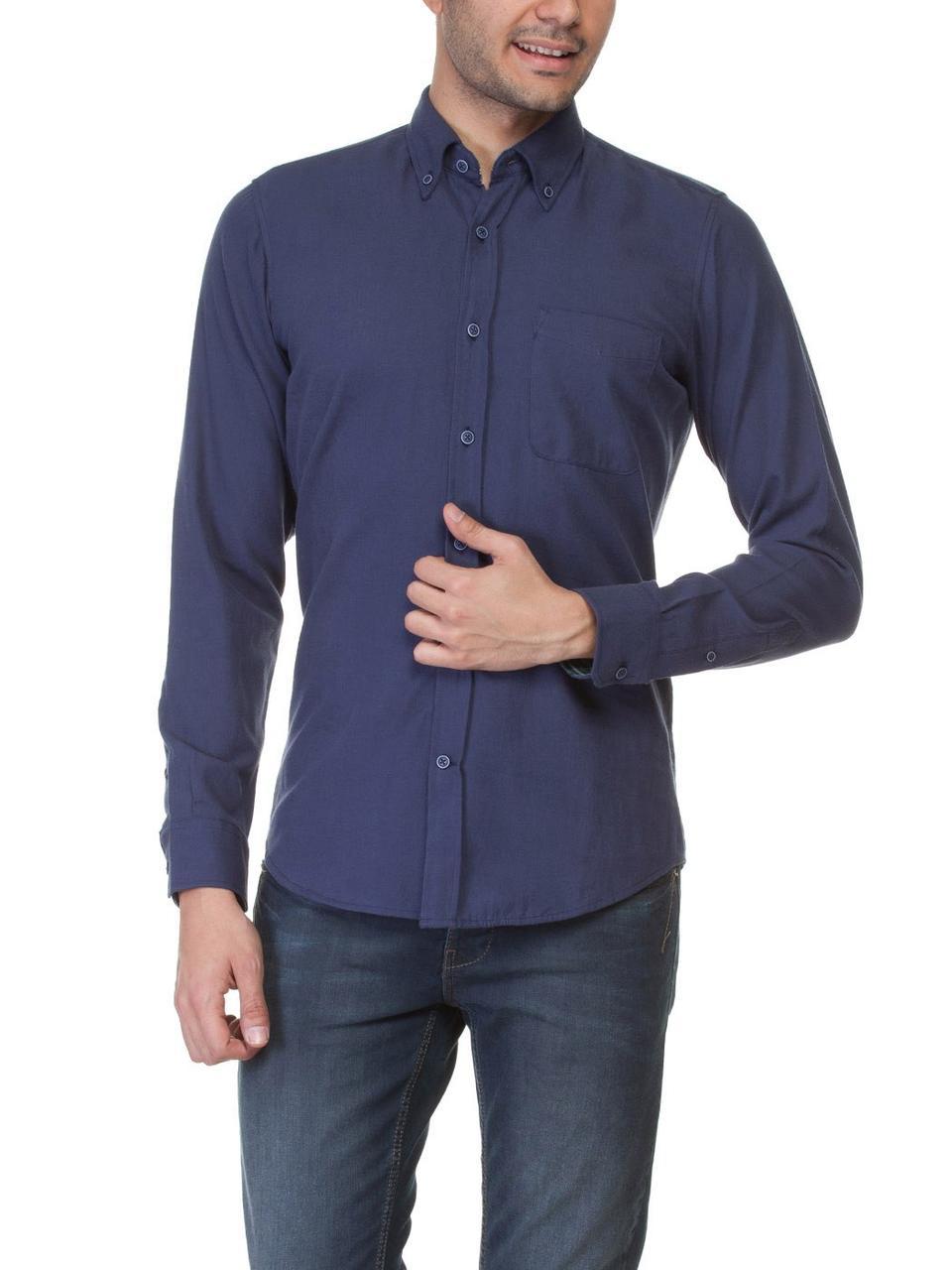 Синя чоловіча сорочка LC Waikiki / ЛЗ Вайкікі з синіми гудзиками