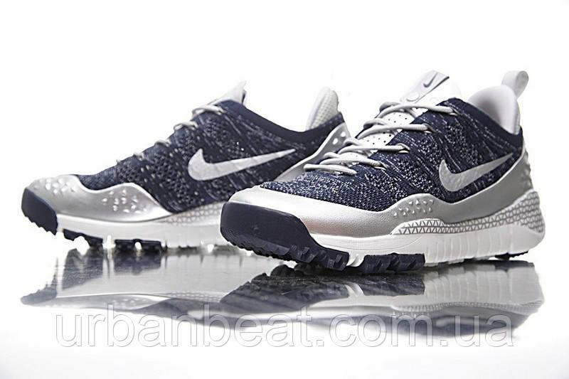Мужские кроссовки Nike Lupinek Flyknit Grey Blue Реплика, фото 1