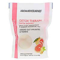 Бомбочки для ванны с эфирными маслами розового грейпфрута и имбиря, 4 шипучих шарика для ванны по 22 г