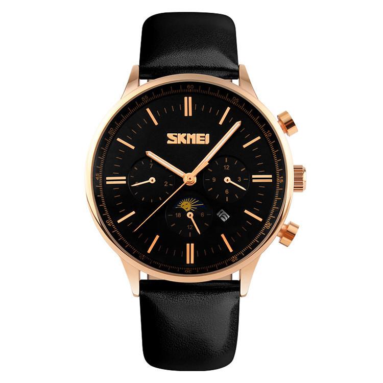 Skmei 9117 золотые с черным циферблатом мужские классические часы
