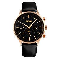 Skmei 9117 золоті з чорним циферблатом чоловічі класичні годинник, фото 1