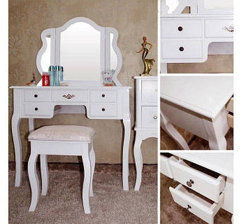 Туалетный столик Трюмо + стул + 5 шуфлядок