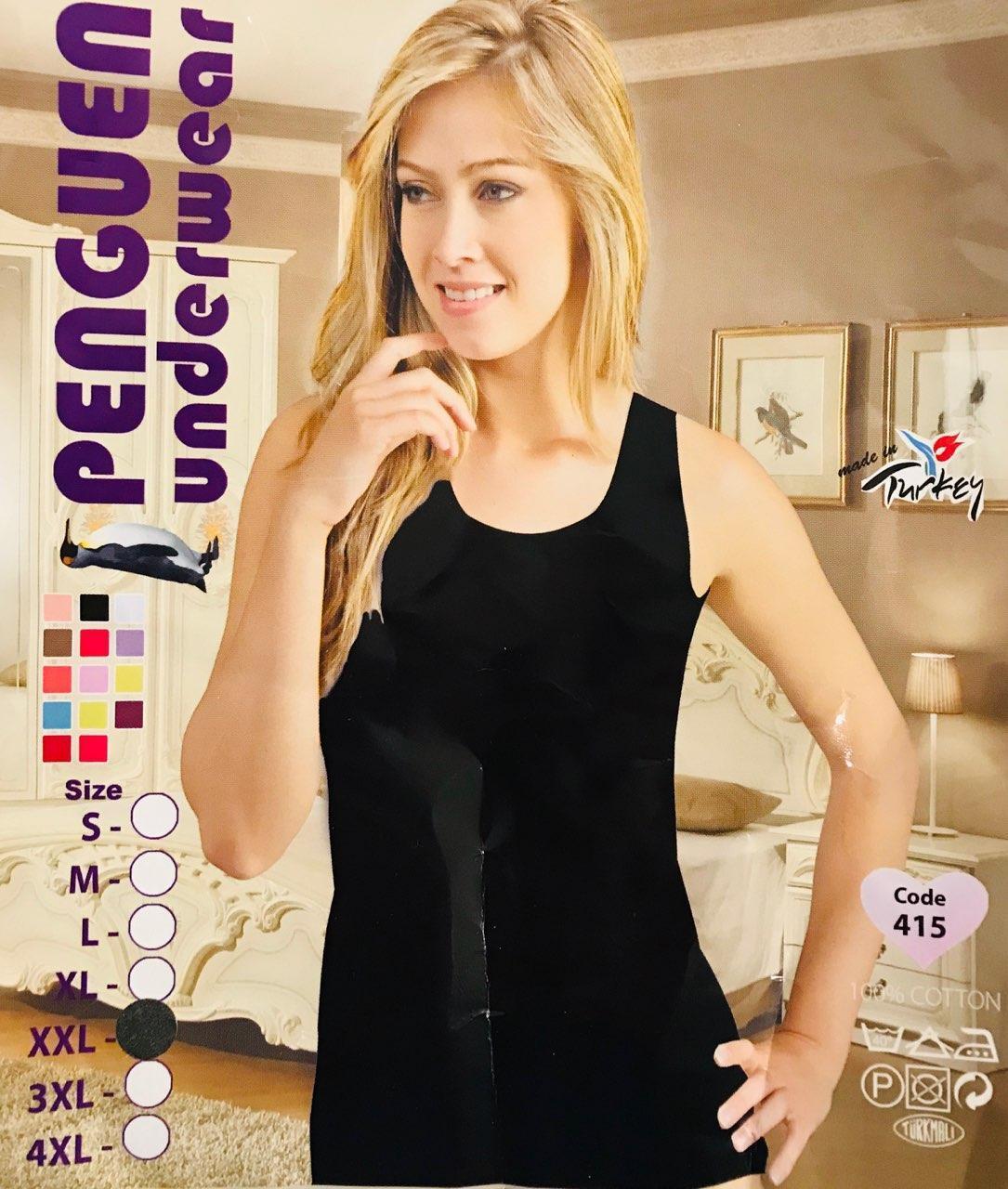 """Женская майка хлопок на широкой бретельке Турция """"PENGUEN"""" размер XL(48-50) чёрная, 415"""