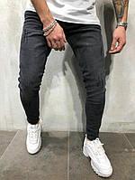 Мужские  джинсы зауженные черные с потертостями, приталенные