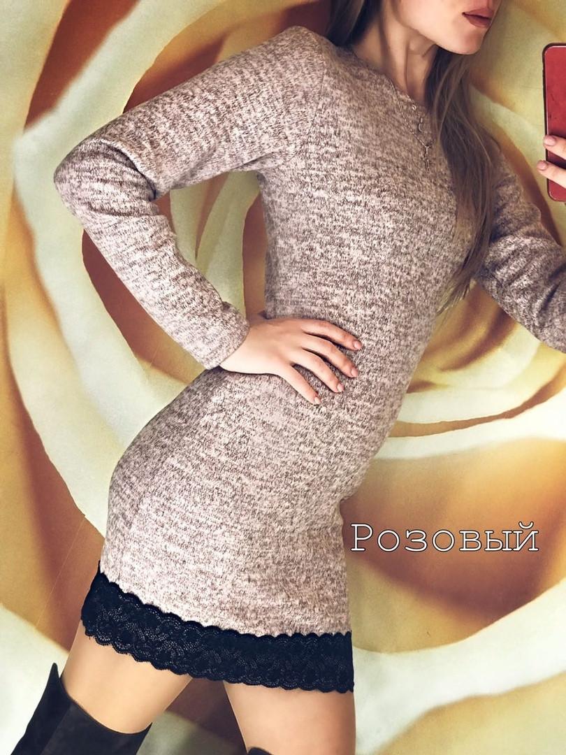 Платье ангора с кружевом
