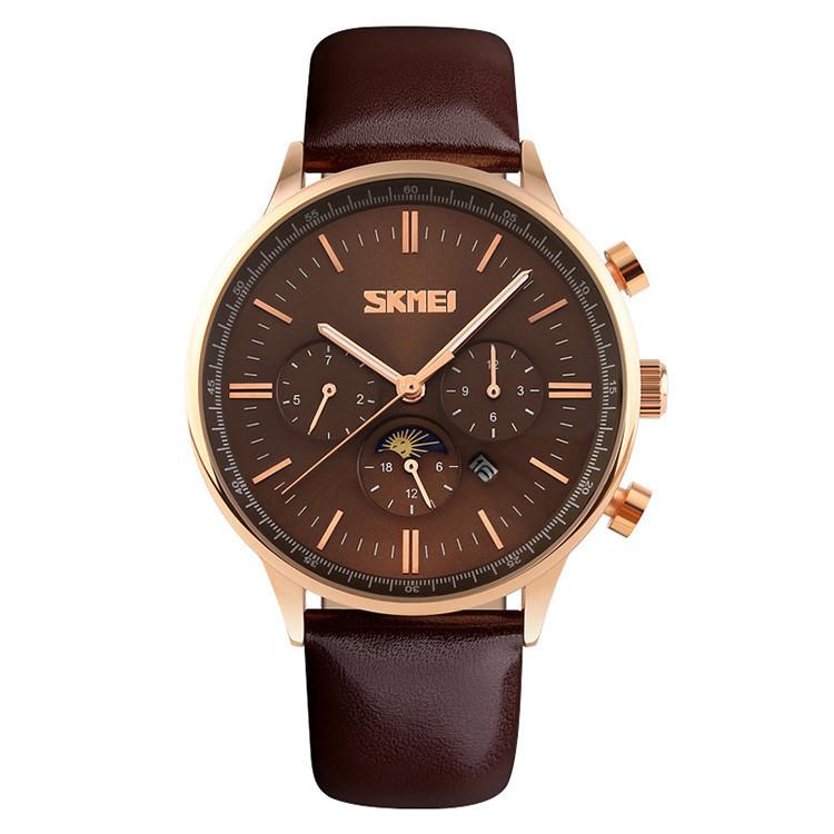 Skmei 9117 золотые с коричневым циферблатом мужские классические часы