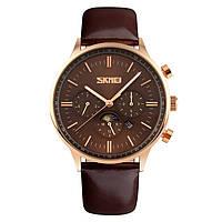 Skmei 9117 золотые с коричневым циферблатом мужские классические часы, фото 1