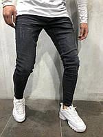мужские джинсы зауженные с потертостями, темно серые