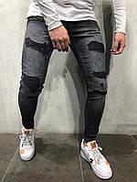 мужские стильные рваные джинсы, темно серые