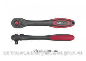 """Трещотка 1/2"""" с изогнутой ручкой YATO 257 мм 72 зубца"""