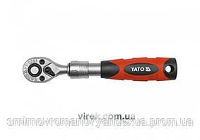 """Трещотка 1/4"""" телескопическая YATO 150-200 мм 72 зубца"""