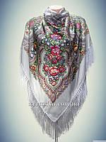 Шерстяной платок с пышной бахромой Дыхание лета, серый 120см