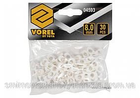 Хрестики дистанційні для плитки і клінкера VOREL тип Т: товщина - 8 мм, уп. 30 шт.