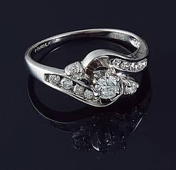 Жіноче кільце з білого золота з діамантами С37Л1№2