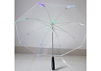 Прозрачный зонт с LED подсветкой, светящийся зонт, фото 1