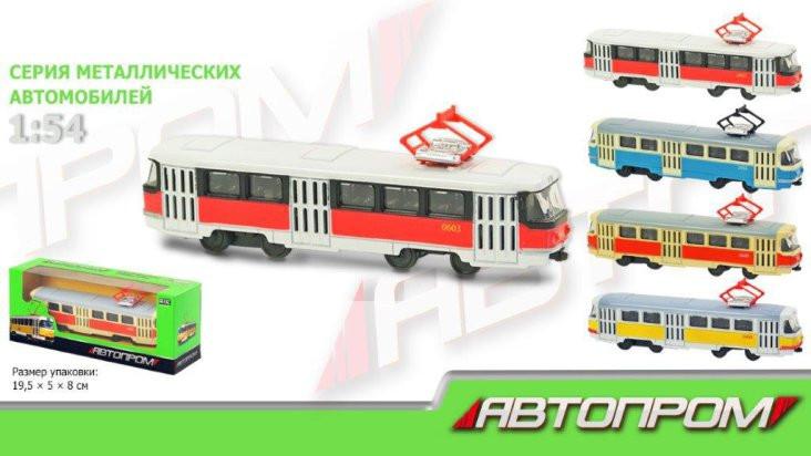Трамвай металлический 6411 ABCD инерционный Автопром
