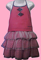Малиновый летний костюмчик на девочку: Топик и юбка с оборками, р. 92, 98 см