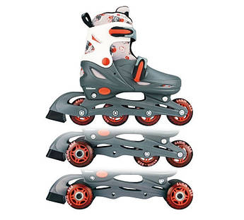 Детские роликовые коньки регулируемые 3в1 NIJDAM 52QM 30-33 серые