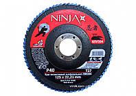 Круг лепестковый шлифовальный NINJA Zirconium TM VIROK Т27 125х22 мм Р40 Al Inox Steel