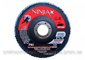 Круг лепестковый шлифовальный NINJA Zirconium TM VIROK Т27 125х22 мм Р80 Al Inox Steel