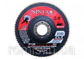 Круг лепестковый шлифовальный NINJA Zirconium TM VIROK Т27 125х22 мм Р120 Al Inox Steel