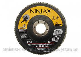 Круг лепестковый шлифовальный NINJA TM VIROK Т27 125х22 мм Р60