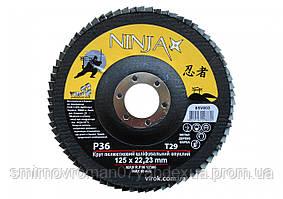Круг лепестковый шлифовальный выпуклый NINJA TM VIROK Т29 125х22 мм Р36