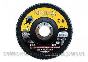 Круг лепестковый шлифовальный выпуклый NINJA TM VIROK Т29 125х22 мм Р40