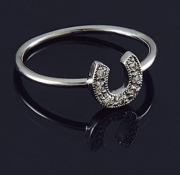 Жіноче кільце з білого золота з діамантами С35Л1№4