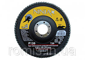 Круг лепестковый шлифовальный выпуклый NINJA TM VIROK Т29 125х22 мм Р120
